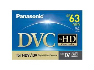 Panasonic AY-DVM63HD2 63 Minute Professional MiniDV Tape for 1080i or 720p High Definition Recording, 2 Pack