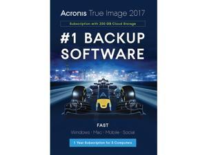 Acronis True Image Subscription 5 Computer + 250GB Cloud Storage - 1 Year - Download