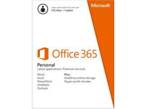 Microsoft Office 365 Personal - 1 PC/Mac + 1 Tablet, 1-Year Subscription