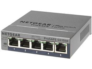 NETGEAR ProSAFE 5-Port Gigabit Web Managed (Plus) Switch (GS105E) - Lifetime Warranty
