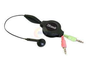Zonet ZSY5110 3.5mm Connector Earbud Retractable Headset w/Microphone