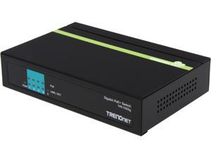TRENDnet TPE-TG50g Switches 4 to 10 Ports 5-Port Gigabit PoE+ Switch. Limited Life Time Warranty