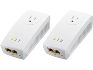 ZyXEL PLA5256KIT HomePlug AV2 SISO AV1000 Powerline Pass-Thru 2-Port Gigabit Ethernet Adapter Kit, up to 1000Mbps