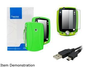 Insten Green Skin Gel Rubber Shell Case with Matte Protector and USB Cable For LeapFrog LeapPad 2 975208