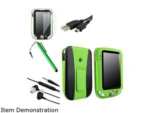 Insten Green / Black Leather Flip Folio Case with Clear Protector and Stylus and USB Cable with Headset For LeapFrog LeapPad Ultra 1472912