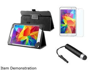 Insten Black Stand Leather Flip Folio Case with Clear Protector and Mini Stylus For Samsung Galaxy Tab 4 7.0 1991407