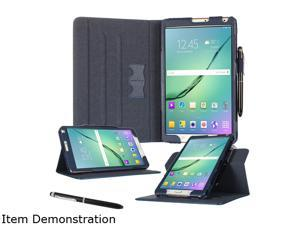 rooCASE Navy Dual View Pro PU Leather Folio Case Smart Cover for Galaxy Tab S2 8.0 (2015) Model RC-GALX-TAB-S2-8.0-DV-NV