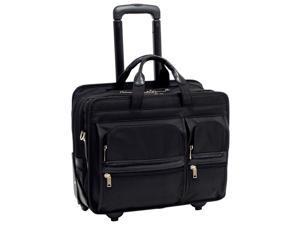 """McKlein Black 17"""" CLINTON Detachable-Wheeled Laptop Case Model 58445"""