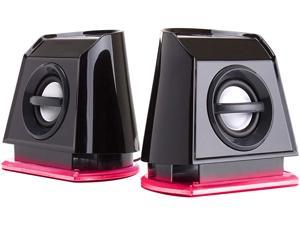 GOgroove BassPULSE 2MX 2.0 USB Multimedia Computer Speakers with Red LED Lights , Dual Drivers & Passive Subwoofer