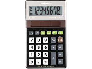 Sharp ELR277BBK EL-R277BBK Recycled Series Handheld Calculator, 8-Digit, LCD, Black