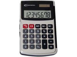 Innovera 15920 Handheld Calculator, Hard Flip Case, 8-Digit LCD, Dual Power, Silver