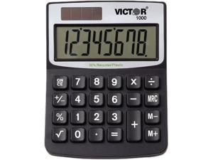 1000 Minidesk Calculator, Solar/Battery, 8-Digit Display, Black