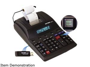 Victor 1280-7 1280-7 Two-Color Printing Calculator w/USB, 12-Digit Fluorescent, Black/Red