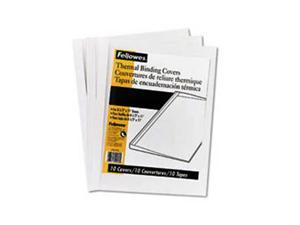 "Fellowes Thermal Binding System Covers, 3/8"" Capacity, 11-1/8 x 9-3/4, Clear/White, 10/Pk"