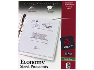 Avery 74098 Top-Load Poly Sheet Protectors, Economy Gauge, Letter, Semi-Clear, 50/Box