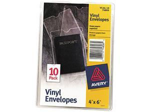 Avery 74806 Top-Load Clear Vinyl Envelopes w/Thumb Notch, 4 x 6 Insert Size, 10/Pack
