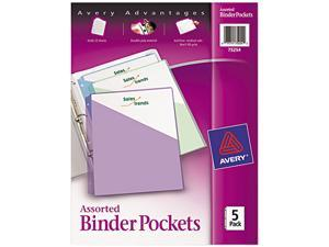 Avery 75254 Ring Binder Polypropylene Pockets, 8-1/2 x 11, Assorted Colors, 5 Pockets/Pack