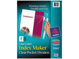 Avery 75501 Index Maker Clear Label Three-Hole Punch View Dividers, Letter, 8/Set