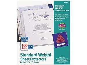Avery 75536 Top-Load Polypropylene Sheet Protectors, Letter, Semi-Clear, 100/Box