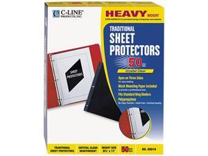 C-line 00010 Side-Loading Sheet Protectors, Open On 3 Sides, Heavy Weight, Letter, 50/Box