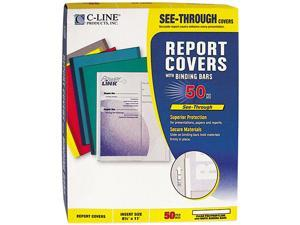 "C-line 32457 Report Cover w/Binding Bar, Letter, 1/8"" Capacity, 50/Box"