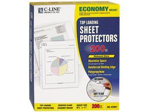 C-line 62067 Top-Load Poly Sheet Protectors, Economy Gauge, Ltr, Reduced-Glare, 200/Box