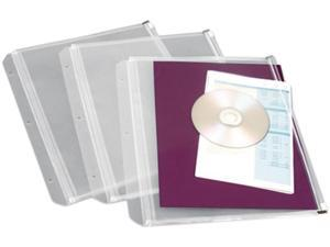 Cardinal 14201 Zippered Binder Pockets, 8-1/2 x 11, Clear, 3 Pockets/Pack