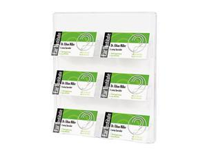 Deflect-o 70601 Six-Pocket Wall Mount Business Card Holder, 8 3/8 x 1 1/2 x 9 3/4, Clear