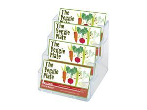 Deflect-o 70841 Four-Pocket Countertop Business Card Holder, Holds 2 x 3 1/2 Cards, Clear