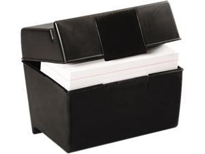 Oxford 01461 Plastic Index Card Flip Top File Box Holds 400 4 x 6 Cards, Matte Black