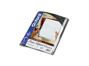"Oxford 50406 Linen Finish Report Cover, Tang Clip, Letter, 1/2"" Capacity, Clear/Black, 5/Pack"