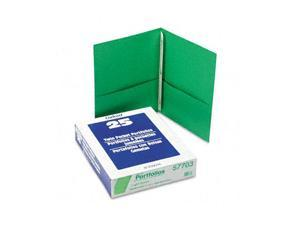 "Oxford 57703 Paper Twin-Pocket Portfolio, Tang Clip, Letter, 1/2"" Capacity, Green, 25/Box"