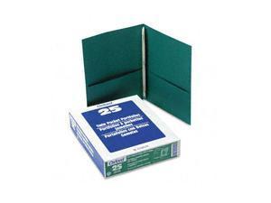 "Oxford 57756 Paper Twin-Pocket Portfolio, Tang Clip, Letter, 1/2"" Capacity, Green, 25/Box"