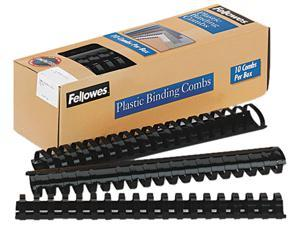 "52066 Fellowes Plastic Comb Bindings, 1-1/2"" Diameter, 340 Sheet Capacity, Black, 10 Combs/Pack"