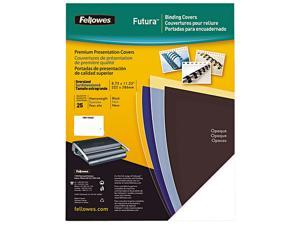 5224901 Fellowes Futura Presentation Binding System Covers, 11 x 8-1/2, Opaque Black, 25/Pack