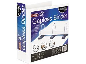 "find It SNS01701 Gapless Loop Ring View Binder, 11 x 8-1/2, 3"" Capacity, White"