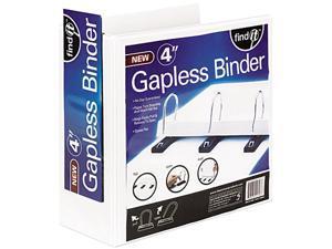 "find It SNS01703 Gapless Loop Ring View Binder, 11 x 8-1/2, 4"" Capacity, White"