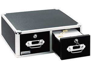 Vaultz VZ01393 Vaultz Locking 5 x 3 Two-Drawer Index Card Box, 3000-Card Capacity, Black