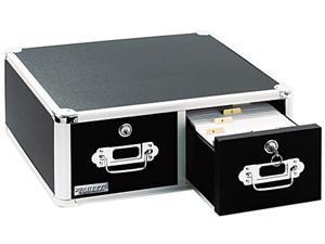 Vaultz VZ01397 Vaultz Locking 8 x 5 Two-Drawer Index Card Box, 3000-Card Capacity, Black