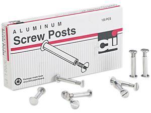 """Charles Leonard 3706L Post Binder Aluminum Screw Posts, 3/16"""" Diameter, 1"""" Long, 100/Box"""