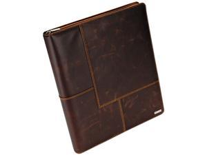 Rolodex™                                 Explorer Leather Organizer Business Card Book, 240-Card Cap., 11 x 13 1/2, Brown