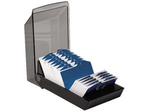Rolodex 67011 Covered Tray Card File w/24 A-Z Guides Holds 500 2 1/4 x 4 Cards, Black, 1 Each