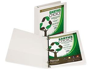 "Samsill 18937 Earth's Choice Biodegradable Round Ring View Binder, 1"" Capacity, White"