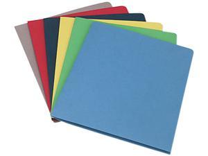 Smead 87850 Two-Pocket Portfolio, Embossed Leather Grain Paper, Assorted, 25/Box