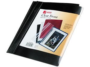 "Acco 26101 Vinyl Report Cover, Prong Clip, Letter, 1/2"" Capacity, Clear Cover/Black Back"