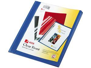 "Acco 26102 Vinyl Report Cover, Prong Clip, Letter, 1/2"" Capacity, Clear Cover/Blue Back"