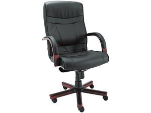 Alera Madaris Series MA41LS10M (ALEMA41LS10M)High-Back Knee Tilt Leather Chair w/Wood Trim, Black/Mahogany