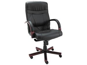 Madaris Series High-Back Knee Tilt Leather Chair w/Wood Trim, Black/Mahogany