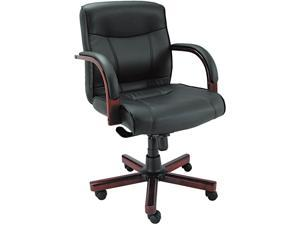 Alera Madaris Series MA42LS10M (ALEMA42LS10M)Mid-Back knee Tilt Leather Chair w/Wood Trim, Black/Mahogany