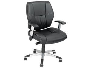 Napoleon Series Petite Mid-Back Multifunction Leather Chair, Black/Chrome